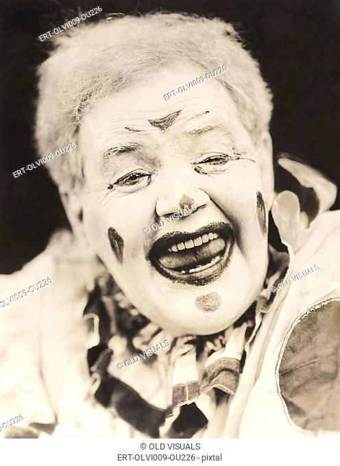 Closeup of laughing clown