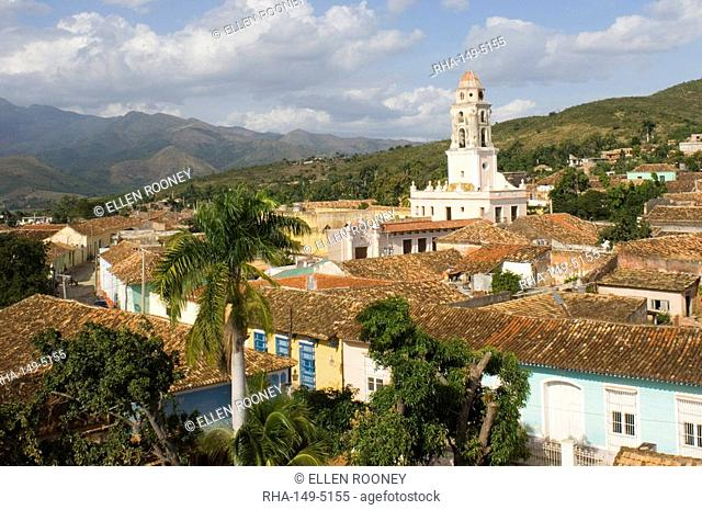 An elevated view of the terracotta roofs and the belltower of the Iglesia y Convento de San Francisco, Trinidad, UNESCO World Heritage Site, Cuba, West Indies