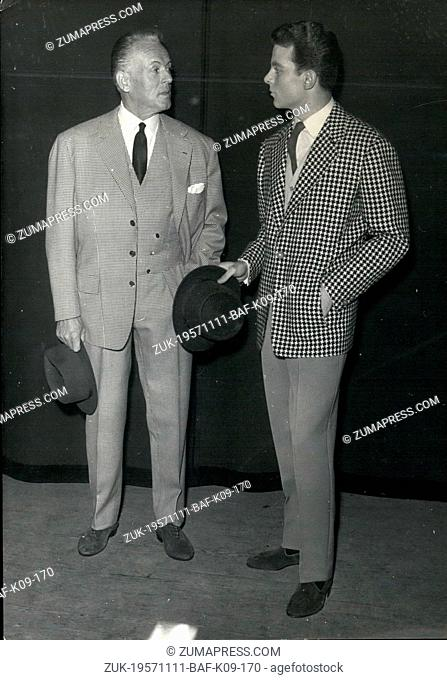 Nov. 11, 1957 - Men's Fashion Festival - A Men's Fashion Festival Organised by The Paris tailors was heed at Champselysees theatre Last Night