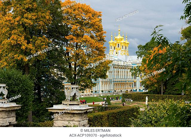 View of the Catherine Palace and Gardens, Pushkin, near Saint Petersburg, Russia
