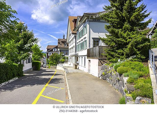 Quiet street in the village of Gais, canton Appenzell Ausserrhoden, Switzerland. Unbelebte Strasse in der Ortschaft Gais, Kanton Appenzell Ausserrhoden, Schweiz