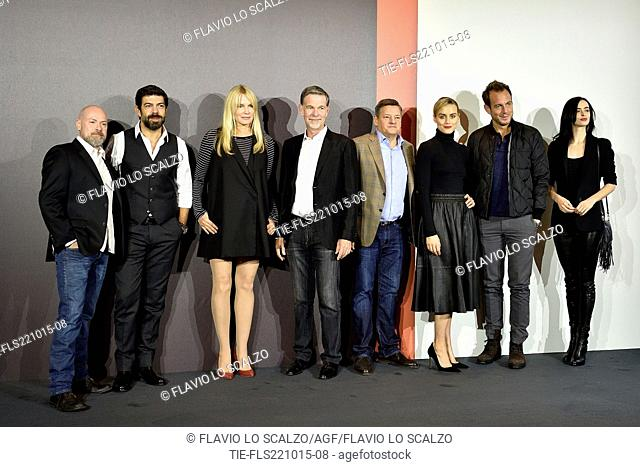 from left the actors and actresses Steven Deknight, Pierfrancesco Favino, Daryl Hannah, Reed Hastings founder and CEO Netflix