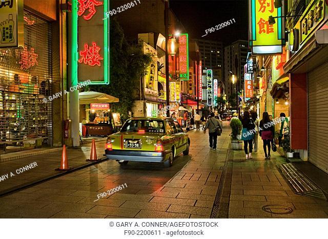 Street at night, Chinatown, Yokohama, Japan