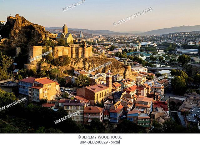 Scenic view of Narilka fortress, Tbilisi, Georgia