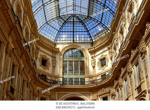Iron-glass cover and architectural decorations of Galleria Vittorio Emanuele II, 1867, by Giuseppe Mengoni (1829-1877), Milan, Lombardy, Italy, 19th century