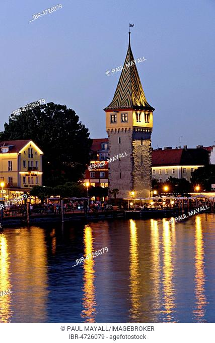 Old Lighthouse, Mangenturm, Lindau, Swabia, Bavaria, Germany