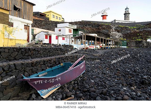 Boathouses at Salinas de Fuencaliente, island La Palma, Canary islands, Spain