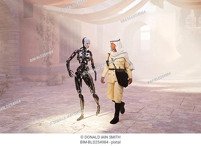 Robot woman walking with man in traditional clothing