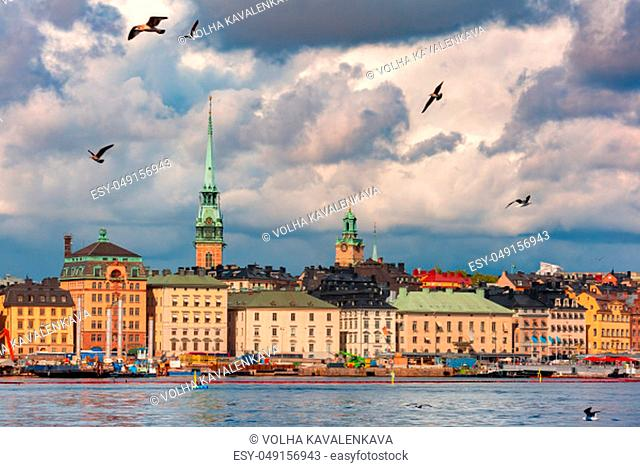 Scenic panoramic aerial view of Gamla Stan in the Old Town in Stockholm, capital of Sweden