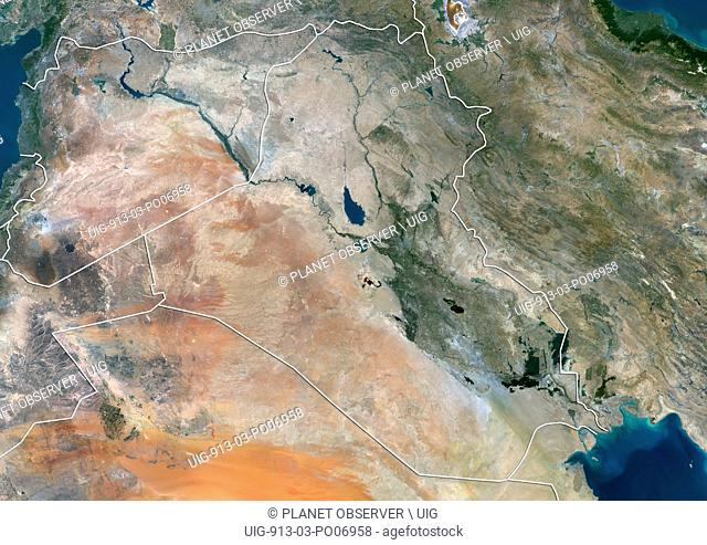 Satellite view of Iraq and Syria (with country boundaries). This image was compiled from data acquired by Landsat 8 satellite in 2014