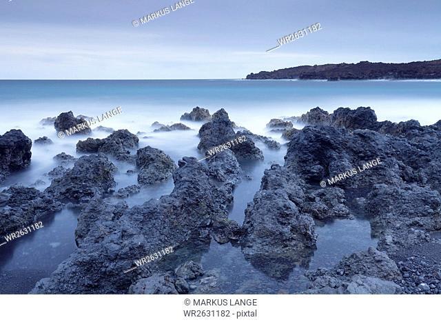 Lava coast near Los Hervideros, Montanas del Fuego, Parque Natinal de Timanfaya, Lanzarote, Canary Islands, Spain, Atlantic, Europe