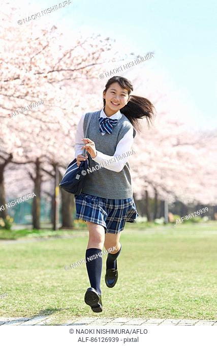 Japanese junior-high schoolgirl in uniform