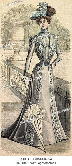 Woman wearing a Princesse dress decorated with embroidery with hat and umbrella, creation by Madame Angenault, engraving from La Mode Illustree, No 31, August 5