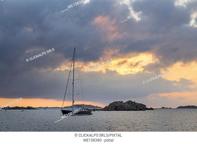 Sailing boats at sunrise (Budelli island, Archipelago of La Maddalena National Park, Sassari province, Sardinia, Italy, Europe)