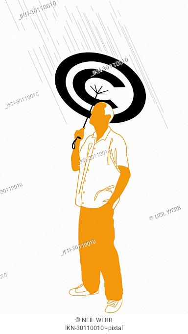Man holding copyright umbrella