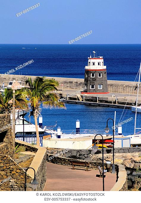 Puerto Calero - small town on the coast of Lanzarote, Canary Islands, Spain