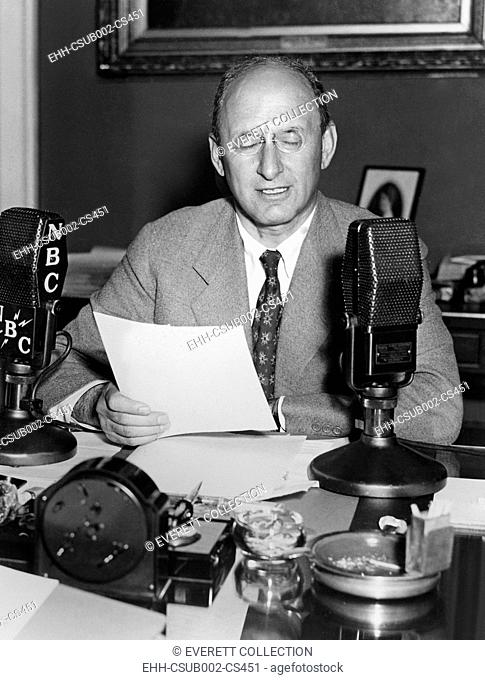 Secretary of the Treasury Henry Morgenthau, Jr. speaks on the radio, August 28, 1934. In his first radio broadcast he sought to reassure citizens and Wall...