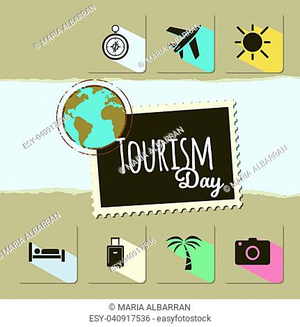 World Tourism day card on brown background. Vector illustration