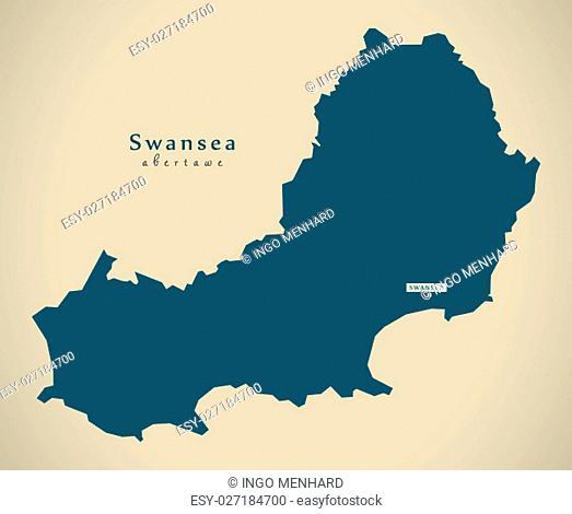 Modern Map - Swansea Wales UK illustration