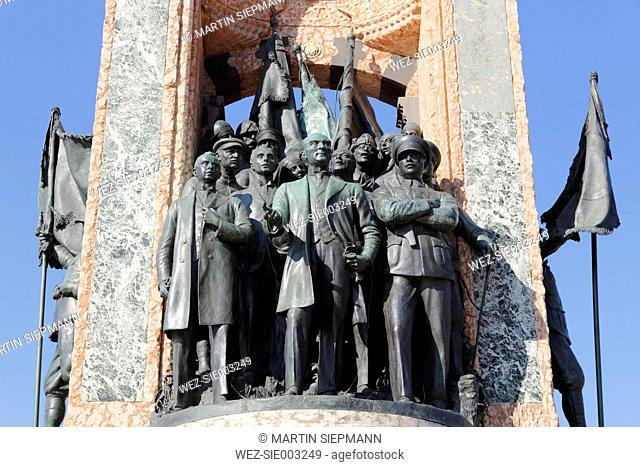 Turkey, Istanbul, Mustafa Kemal Ataturk with comrades on Independence monument at Taksim Square