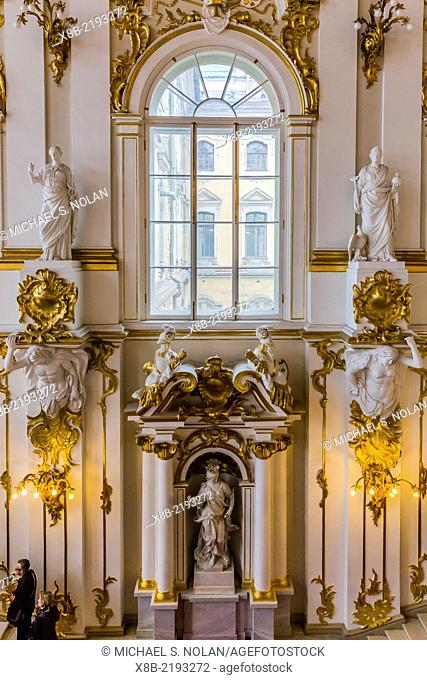 Interior view of the Winter Palace, The Hermitage, St. Petersburg, Russia