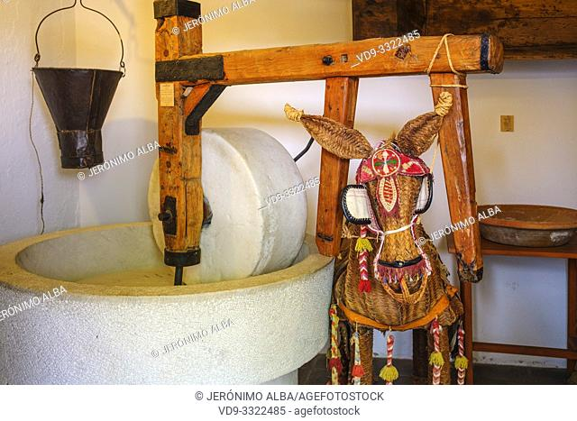 Typical Andalusian flour mill. Casa Ethnographic Museum, Mijas Pueblo. Malaga province, Costa del Sol. Andalusia, Spain Europe