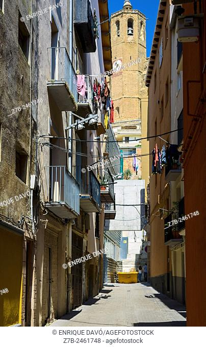 Vertical church view in a street of Balaguer town, Lerida province, Catalonia, Spain