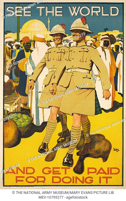 See the World and Get Paid for Doing It. Recruitment poster, Highlanders, 1920 (c)