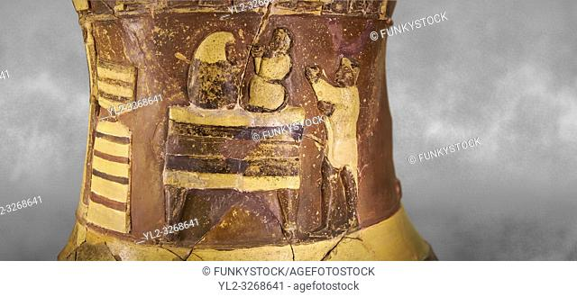 "Hüseyindede vases, Old Hittite Polychrome Relief vessel, second frieze down close up depicting two people on a """"bed throne"""" who are performing some sort of..."