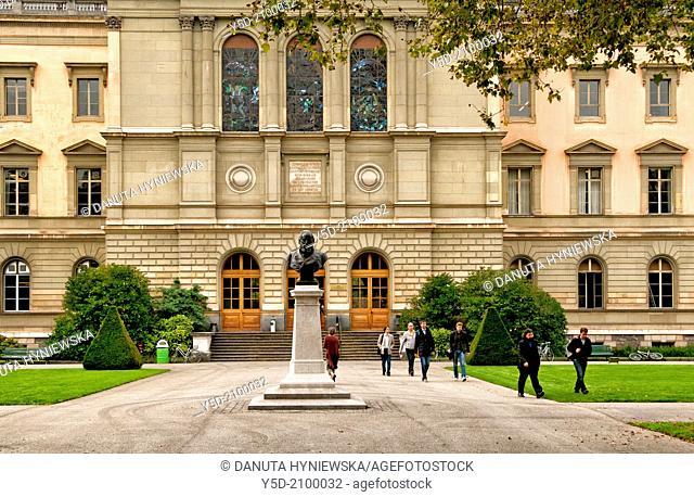 University of Geneva, in front statue of Antoine Carteret, Bestions park, Geneva, Switzerland
