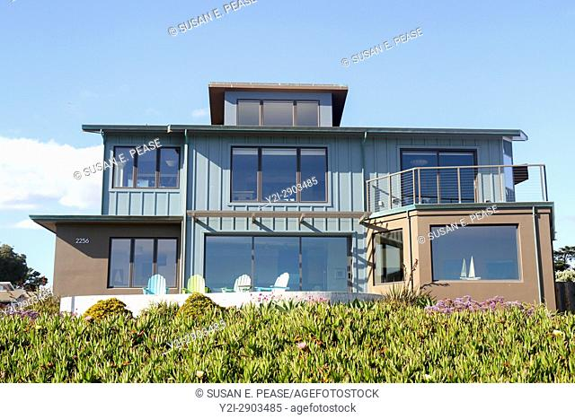 A home on West Cliff Drive, Santa Cruz, California, United States, North America. Editorial use only