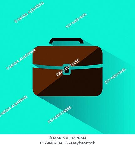 Briefcase icon with color and shadow on blue background