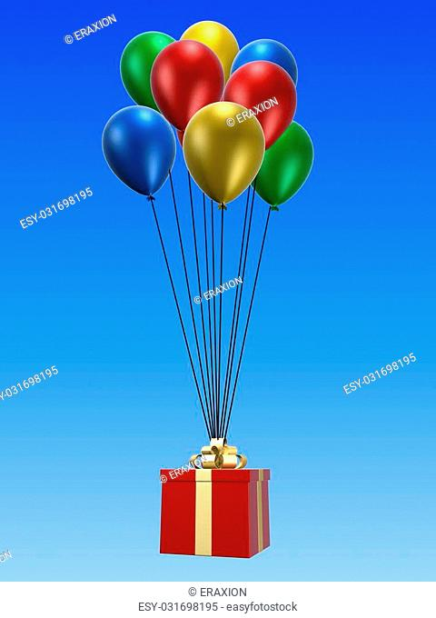 3d rendered illustration of a gift on red balloons