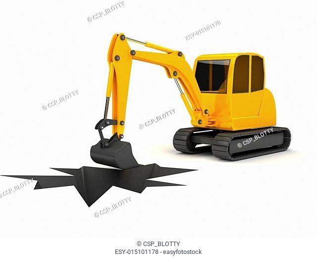 3d orange digger working on white background