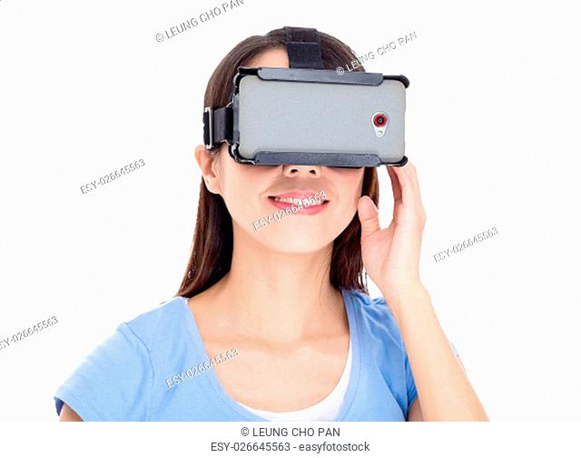 Woman watching virtual reality devicea