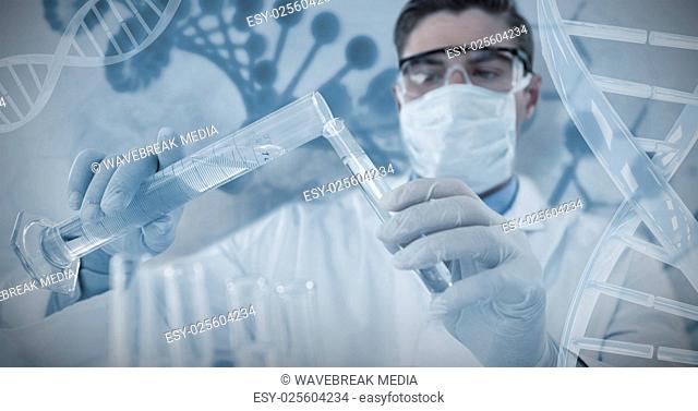 Composite image of doctor wearing medical gloves filling the test tube
