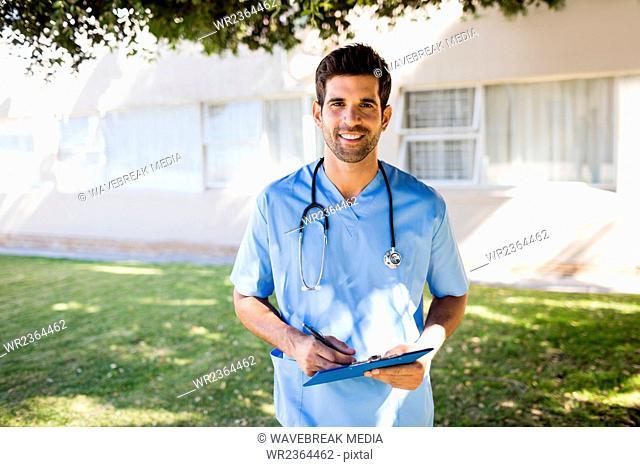 Nurse standing and posing