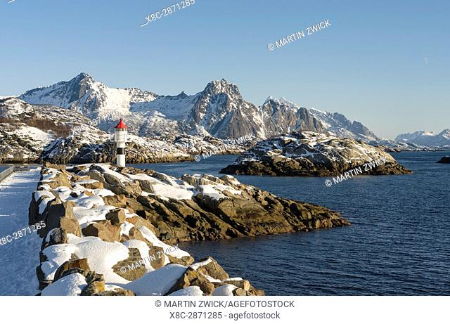 Small town Kabelvag, island Austvagoya. The Lofoten islands in northern Norway during winter. Europe, Scandinavia, Norway, February