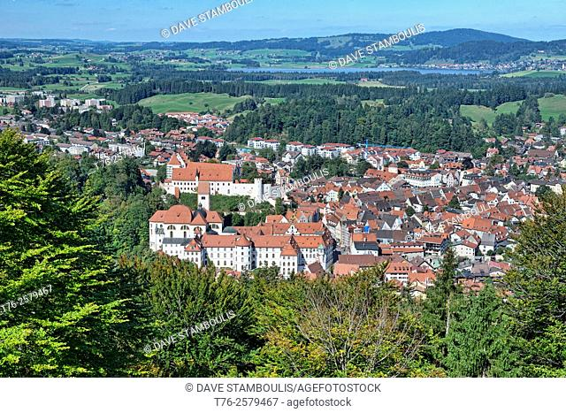 Panorama of Fussen, Germany and the St. Mang Abbey, from the Kalvarienburg Stations of the Cross hiking route above the city