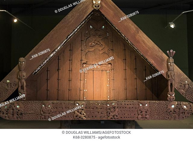 Nuku Tewhatewha, a pataka, which is a raised storehouse, at The Dowse Art Museum in Lower Hutt, North Island, New Zealand