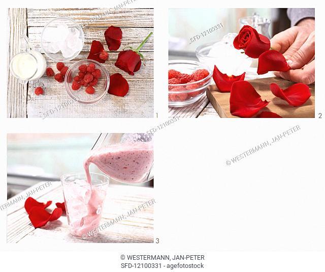 Preparing a rosemary milk mix with raspberries