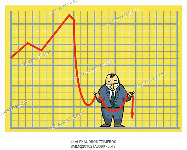 Businessman in stock chart holding limp arrow