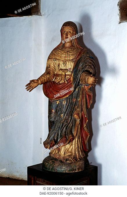 Madonna, polychrome wooden sculpture, Guarani Baroque style, San Ignacio Guazu, Misiones, Paraguay