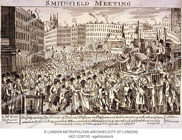 Political meeting at Smithfield, London, 1819. A meeting of radical reformers presided over by Henry Hunt on July 21st 1819