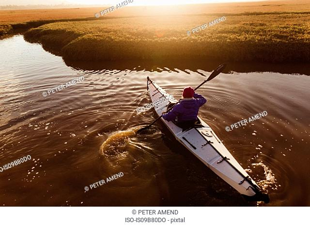 Rear view of woman kayaking on river at sunset, Morro Bay, California, USA