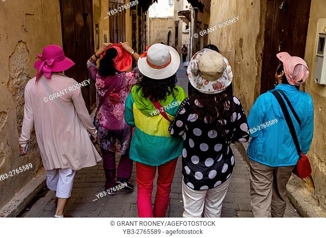 Chinese Tourists Walking In The Medina, Fez el Bali, Fez, Morocco
