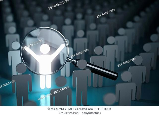 Selection of the personnel, stand out from the crowd, difference and leadership concept. Loupe, many people and a one glowing. 3d illustration