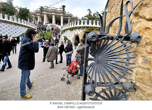 Park Güell garden complex with architectural elements situated on the hill of el Carmel designed by the Catalan architect Antoni Gaudí and built in the years...