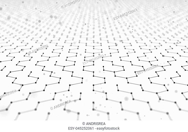 Futuristic Hexagon Pattern Abstract Background. 3d Render Illustration. Space surface. Light sci-fi backdrop. Dots and lines connections