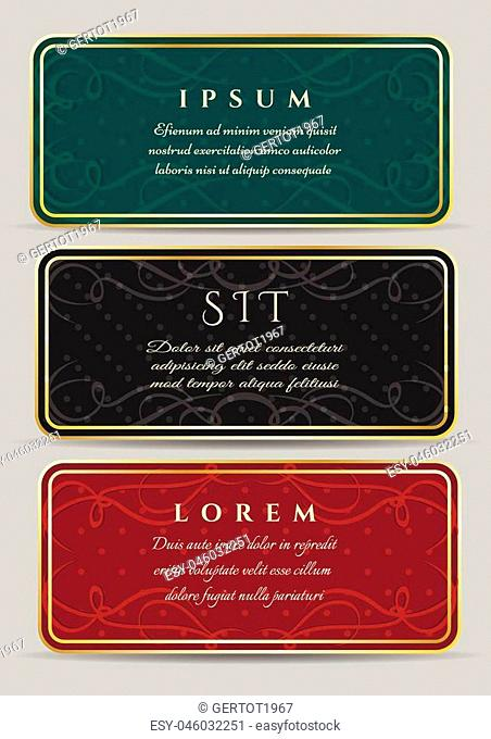 Set of vintage luxury horizontal cards with a beautiful baroque pattern and border. Vector illustration